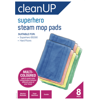 Clean Up Superhero Steam Mop Pads 8pk  - Godfreys