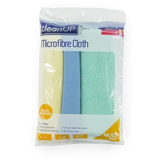 Clean Up Microfibre Cloth  3-pack  - Godfreys