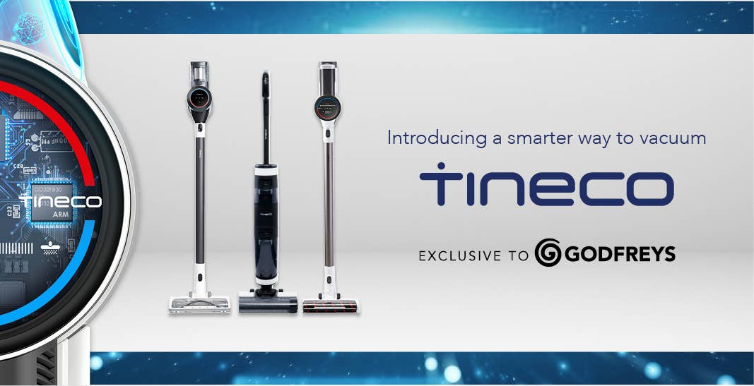 Godfreys exclusive Tineco stick vacuums: PURE ONE S12,  FLOOR ONE S3, and PURE ONE S11