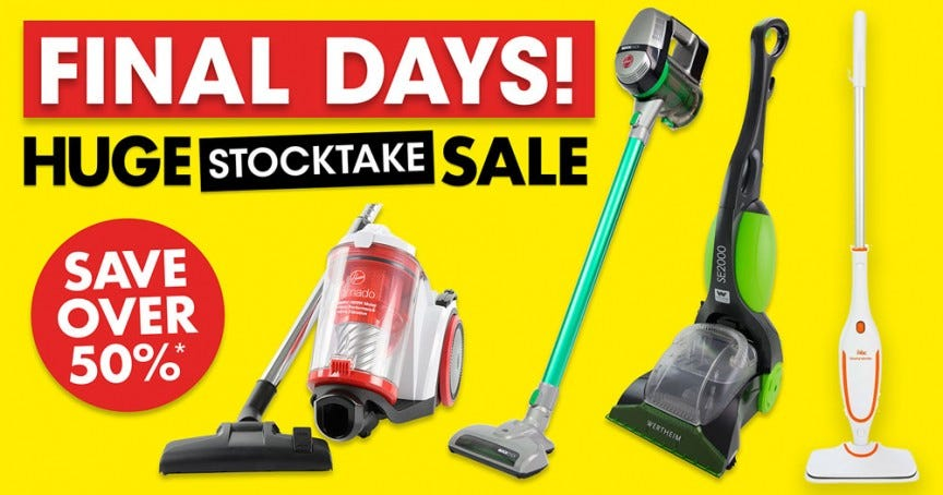 Huge Stocktake Sale Final Days 2019