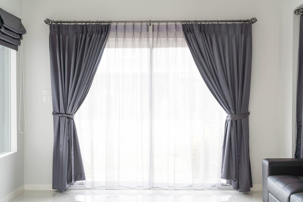 Windows with curtains