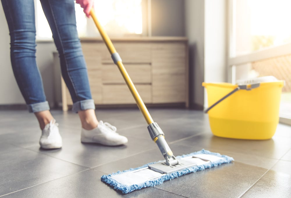 Mopping tiles