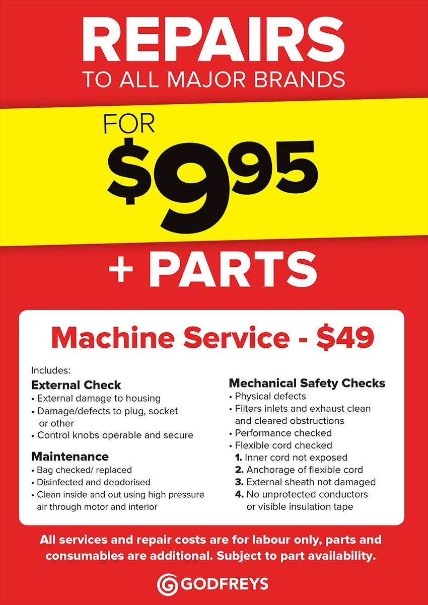 Godfreys Service & Repair Price list
