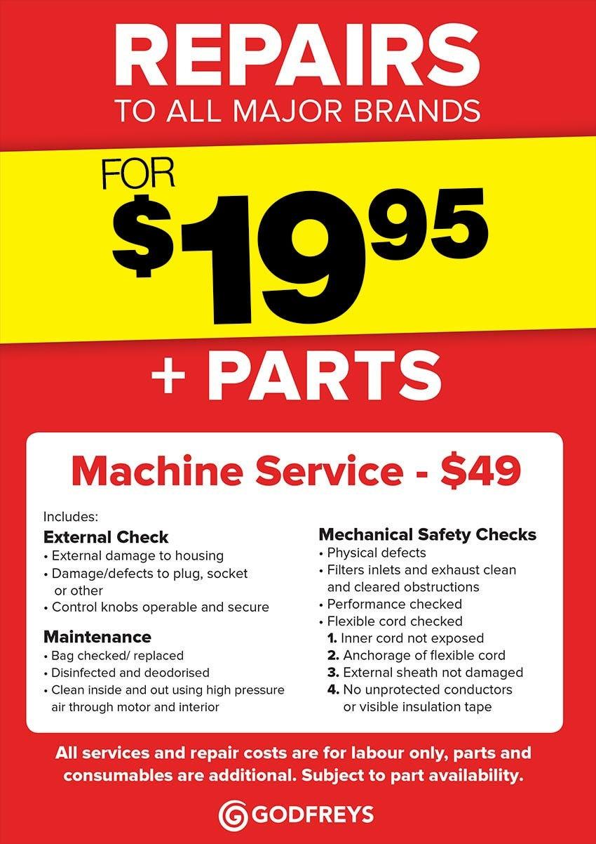 Godfreys Service & Repair Price list